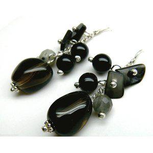 Black Onyx Labradorite Quartz Silver Earrings